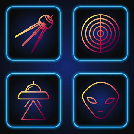 Set line Alien, UFO flying spaceship, Satellite and Earth structure. Gradient color icons. Vector