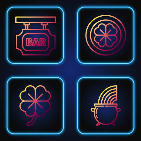 Set line Witch cauldron and rainbow, Four leaf clover, Street signboard with inscription Bar and Gold coin with four leaf clover. Gradient color icons. Vector