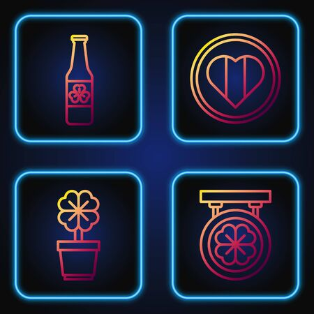 Set line Street signboard with four leaf clover, Four leaf clover in pot, Beer bottle with four leaf clover and Heart and Happy Saint Patrick day. Gradient color icons. Vector Illusztráció