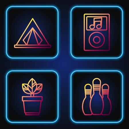 Set line Bowling pin, Flowers in pot, Tourist tent and Music player. Gradient color icons. Vector
