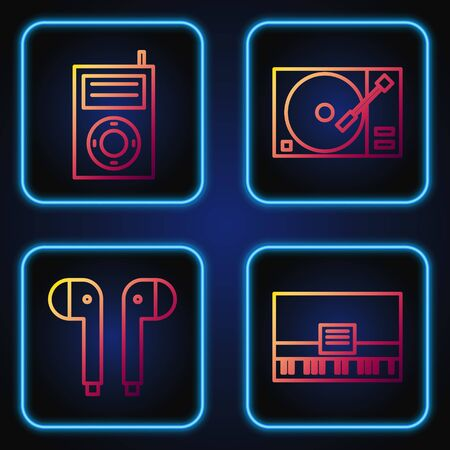Set line Piano, Air headphones, Music MP3 player and Vinyl player with a vinyl disk. Gradient color icons. Vector