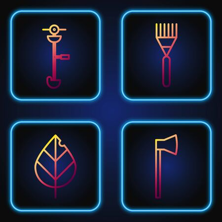 Set line Wooden axe, Leaf, Grass and weed electric string trimmer and Garden rake. Gradient color icons. Vector