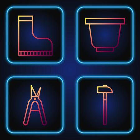 Set line Hammer, Gardening handmade scissors, Waterproof rubber boot and Flower pot. Gradient color icons. Vector