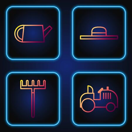 Set line Tractor, Garden rake, Watering can and Worker hat. Gradient color icons. Vector