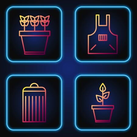 Set line Plant in pot, Trash can, Plants in pot and Kitchen apron. Gradient color icons. Vector