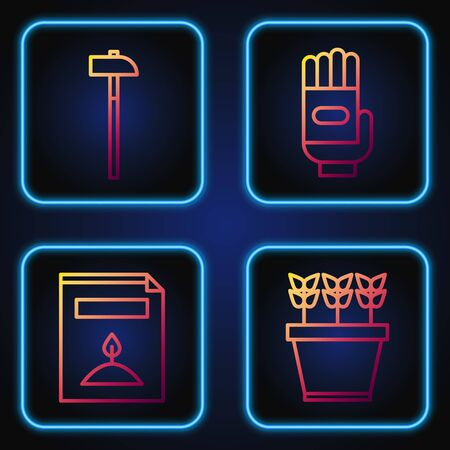 Set line Plants in pot, A pack full of seeds of a specific plant, Hammer and Garden gloves. Gradient color icons. Vector