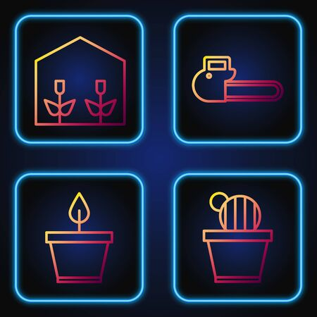 Set line Cactus and succulent in pot, Plant in pot, Home greenhouse and plants and Chainsaw. Gradient color icons. Vector