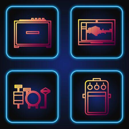 Establecer línea de pedal de guitarra, batería, amplificador de guitarra y grabadora de sonido o audio en la computadora portátil. Iconos de colores degradados. Vector Ilustración de vector