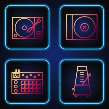 Set line Metronome with pendulum in motion, Drum machine, Vinyl player with a vinyl disk and CD or DVD disk. Gradient color icons. Vector