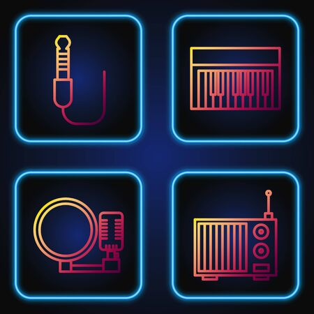 Set line Radio with antenna, Microphone, Audio jack and Music synthesizer. Gradient color icons. Vector