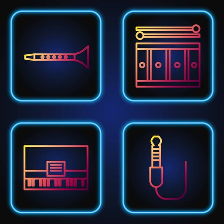 Set line Audio jack, Piano, Clarinet and Drum with drum sticks. Gradient color icons. Vector