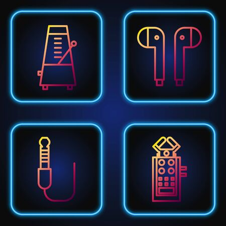 Set line Microphone, Audio jack, Metronome with pendulum in motion and Air headphones. Gradient color icons. Vector