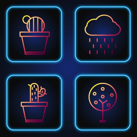 Set line Tree, Cactus and succulent in pot, Cactus and succulent in pot and Cloud with rain. Gradient color icons. Vector