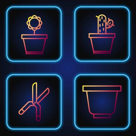 Set line Flower pot, Gardening handmade scissors, Flower in pot and Cactus and succulent in pot. Gradient color icons. Vector