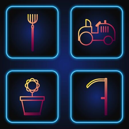 Set line Scythe, Flower in pot, Garden pitchfork and Tractor. Gradient color icons. Vector