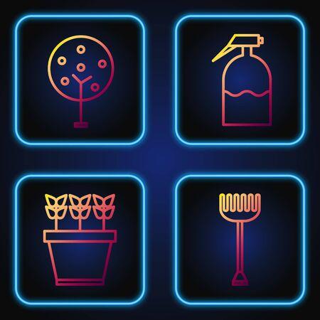 Set line Garden rake, Plants in pot, Tree and Garden sprayer. Gradient color icons. Vector