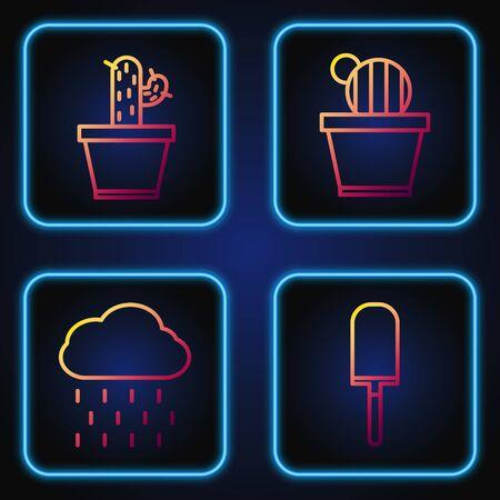 Set line Garden trowel spade or shovel, Cloud with rain, Cactus and succulent in pot and Cactus and succulent in pot. Gradient color icons. Vector Illusztráció