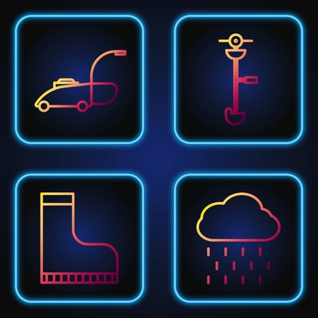 Set line Cloud with rain, Waterproof rubber boot, Lawn mower and Grass and weed electric string trimmer. Gradient color icons. Vector