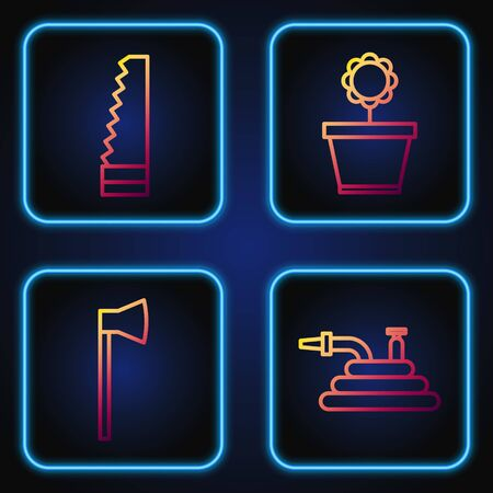 Set line Garden hose or fire hose, Wooden axe, Garden saw and Flower in pot. Gradient color icons. Vector