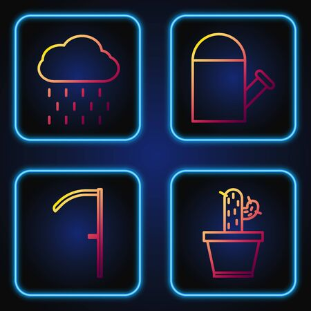 Set line Cactus and succulent in pot, Scythe, Cloud with rain and Watering can. Gradient color icons. Vector