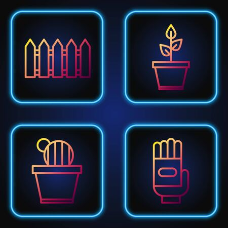 Set line Garden gloves, Cactus and succulent in pot, Garden fence wooden and Plant in pot. Gradient color icons. Vector