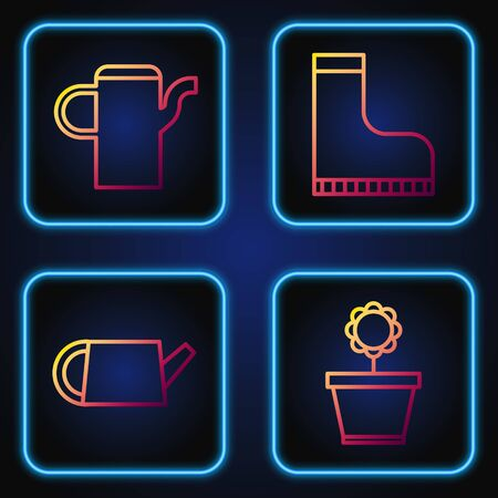 Set line Flower in pot, Watering can, Watering can and Waterproof rubber boot. Gradient color icons. Vector