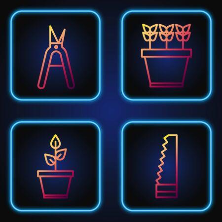Set line Garden saw, Plant in pot, Gardening handmade scissors and Plants in pot. Gradient color icons. Vector
