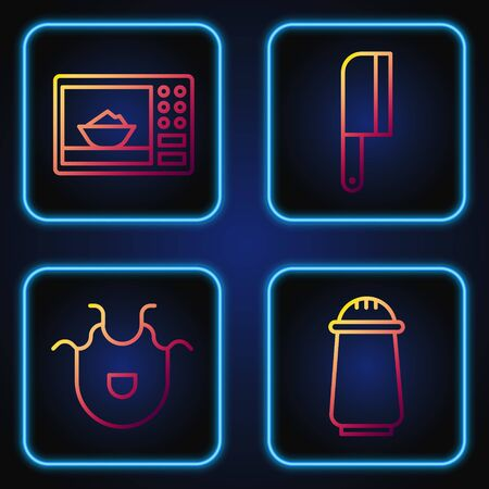 Set line Salt and pepper, Kitchen apron, Microwave oven and Meat chopper. Gradient color icons. Vector Illustration