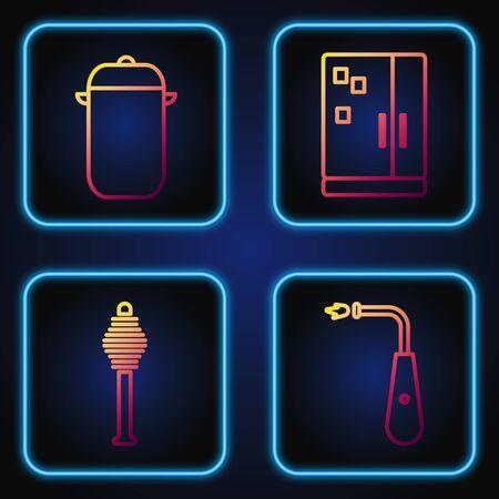 Set line Long electric lighter, Honey dipper stick, Cooking pot and Refrigerator. Gradient color icons. Vector Illusztráció