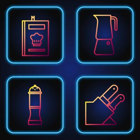 Set line Knife, Pepper, Cookbook and Moka pot. Gradient color icons. Vector Illusztráció