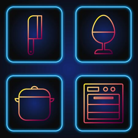 Set line Oven, Cooking pot, Meat chopper and Chicken egg on a stand. Gradient color icons. Vector