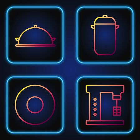 Set line Electric mixer, Plate, Covered with a tray of food and Cooking pot. Gradient color icons. Vector