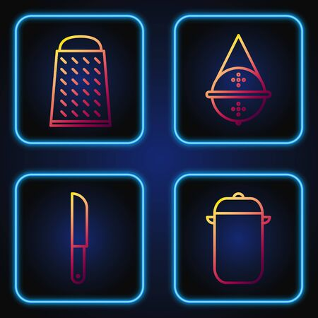 Set line Cooking pot, Knife, Grater and Ball tea strainer. Gradient color icons. Vector Illusztráció