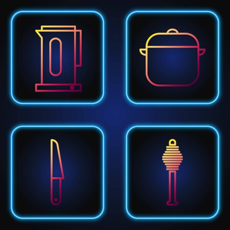 Set line Honey dipper stick, Knife, Kettle with handle and Cooking pot. Gradient color icons. Vector