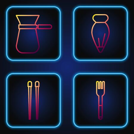 Set line Fork, Food chopsticks, Coffee turk and Pastry bag for decorate cakes. Gradient color icons. Vector