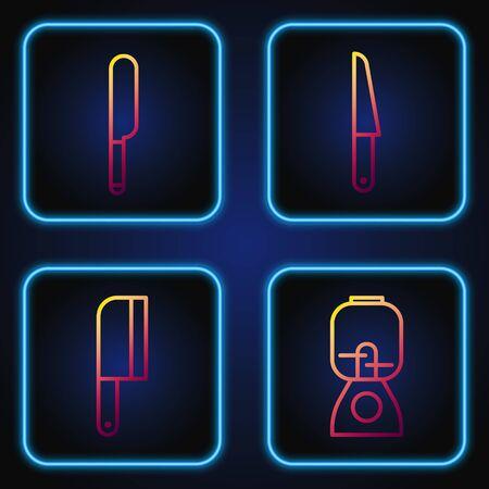 Set line Blender, Meat chopper, Knife and Knife. Gradient color icons. Vector