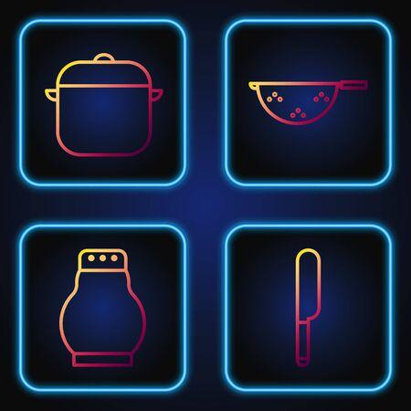 Set line Knife, Salt and pepper, Cooking pot and Kitchen colander. Gradient color icons. Vector Illusztráció
