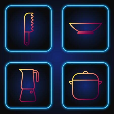Set line Cooking pot, Moka pot, Bread knife and Bowl. Gradient color icons. Vector