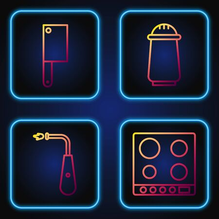 Set line Gas stove, Long electric lighter, Meat chopper and Salt and pepper. Gradient color icons. Vector Illustration