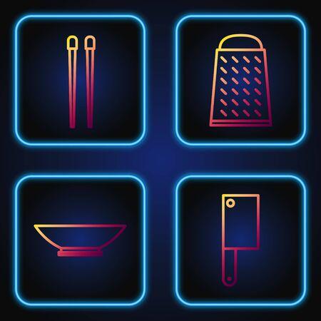 Set line Meat chopper, Bowl, Food chopsticks and Grater. Gradient color icons. Vector