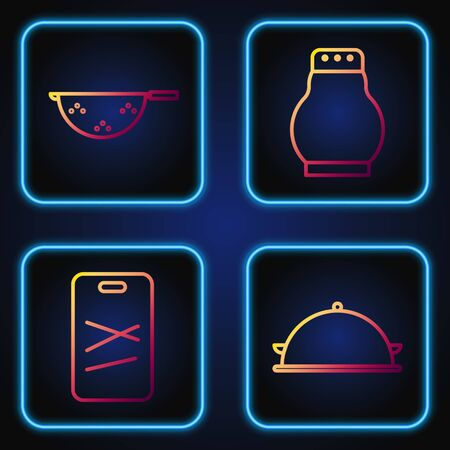 Set line Covered with a tray of food, Cutting board, Kitchen colander and Salt and pepper. Gradient color icons. Vector
