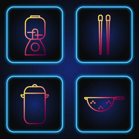 Set line Kitchen colander, Cooking pot, Blender and Food chopsticks. Gradient color icons. Vector Illusztráció
