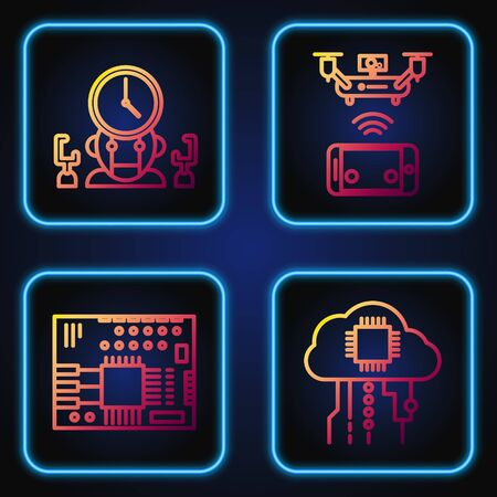 Set line Internet of things, Printed circuit board PCB, Robot and digital time manager and Remote aerial drone. Gradient color icons. Vector