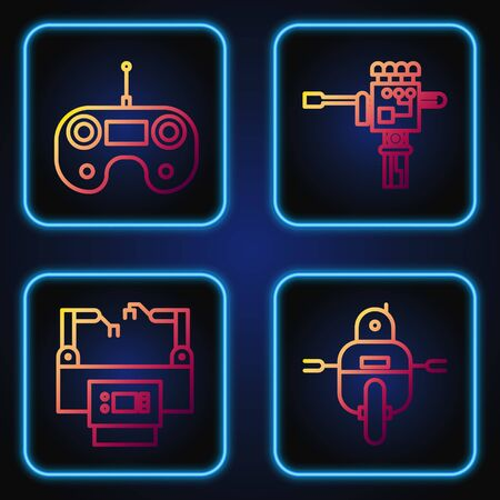 Set line Robot, Assembly line, Remote control and Mechanical robot hand and screwdriver. Gradient color icons. Vector Illustration