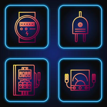 Set line Ampere meter, multimeter, voltmeter, Electrical panel, Electric meter and Electric plug. Gradient color icons. Vector
