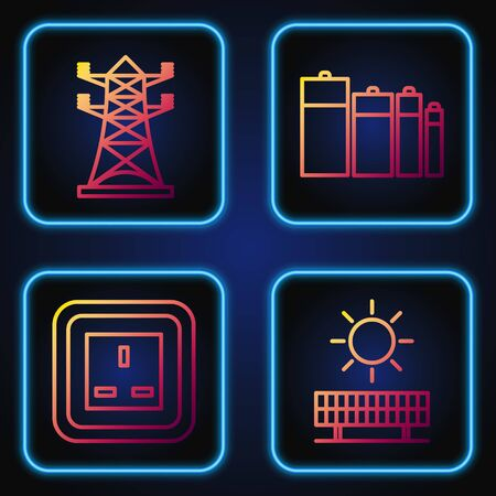 Set line Solar energy panel and sun, Electrical outlet, High voltage power pole line and Battery. Gradient color icons. Vector Illustration