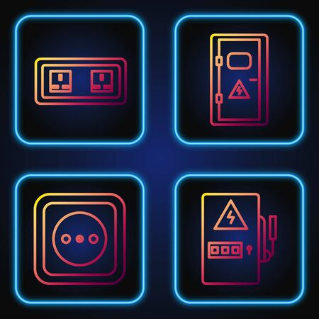 Set line Electrical panel, Electrical outlet, Electrical outlet and Electrical cabinet. Gradient color icons. Vector