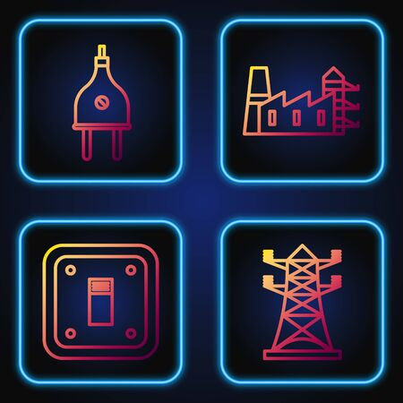 Set line High voltage power pole line, Electric light switch, Electric plug and Power station plant and factory. Gradient color icons. Vector