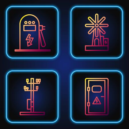 Set line Electrical cabinet, High voltage power pole line, Electric car charging station and Wind turbine. Gradient color icons. Vector Vettoriali