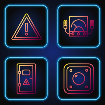 Set line Electric light switch, Electrical cabinet, Exclamation mark in triangle and Ampere meter, multimeter, voltmeter. Gradient color icons. Vector